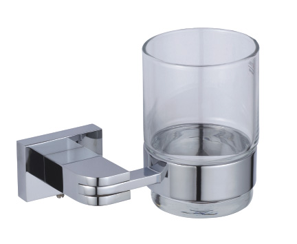Wall Mounted Bathroom Toothbrush Holder with Glass Tumbler