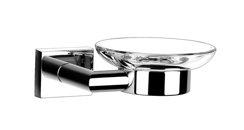 Glass Soap Dish with Chrome Wall Mount