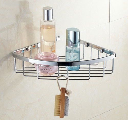 Wall Mount Corner Wire Basket Shower Shelf Chrome B5101 Photo