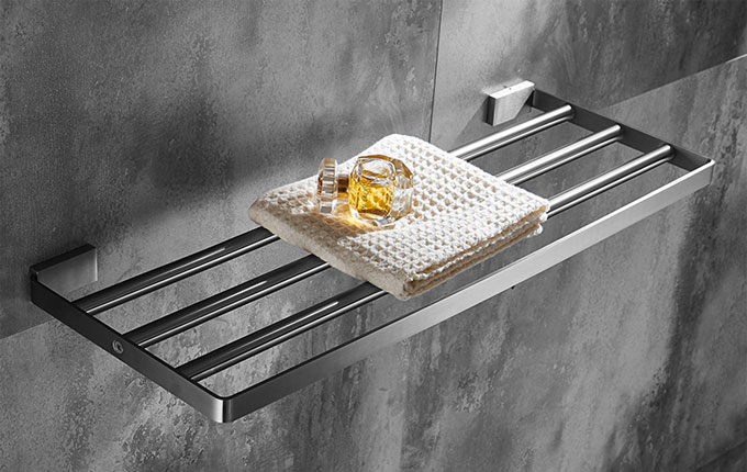 Square Towel Rack Shelf With Bar In Satin Brushed Nickel Stainless Steel