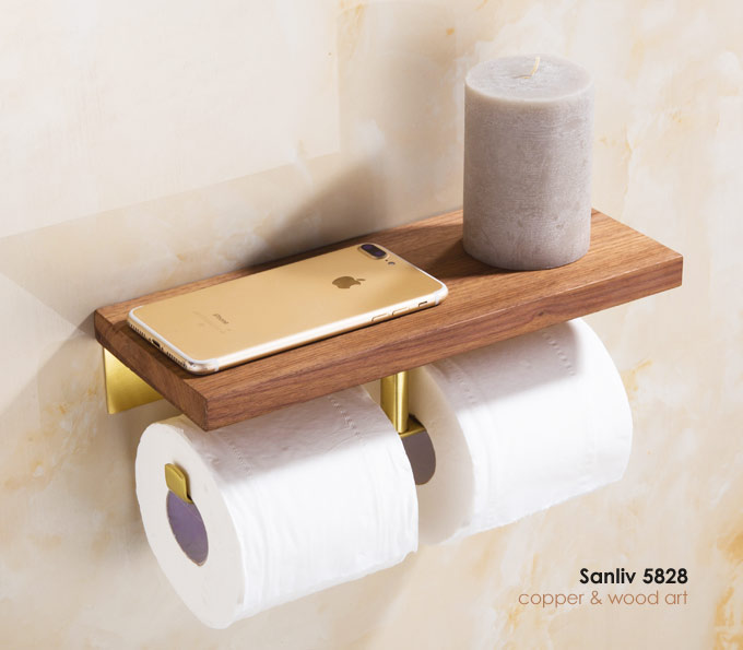 Double Roll Toilet Paper Holder With Copper Wood Shelf