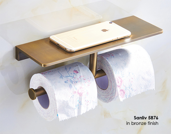 Hotel Double Toilet Roll Holder With Cellphone Shelf In Brushed Bronze Finish