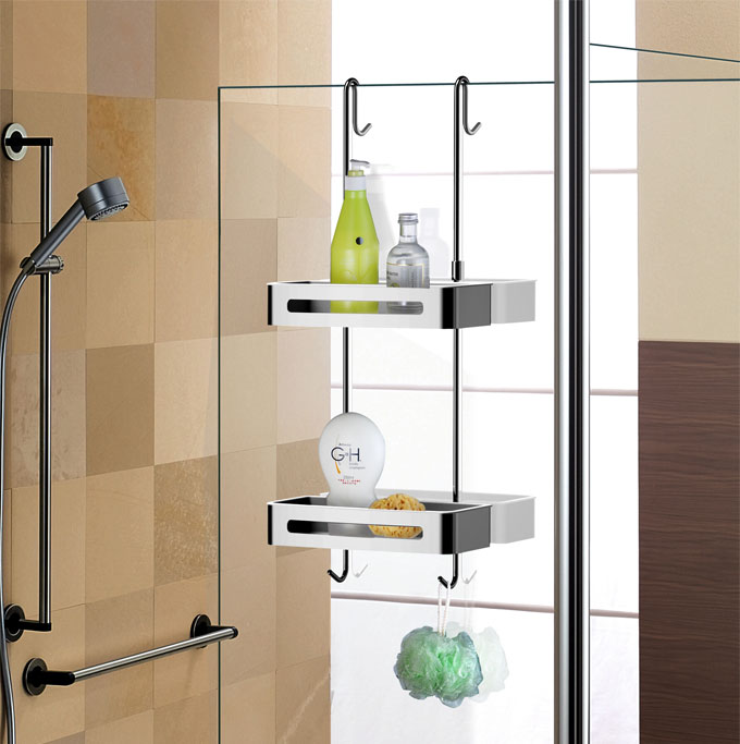 Sanliv Over Gl Door Hanging Double Basket Shower Caddy Shelf For Soap And Shampoo Photo
