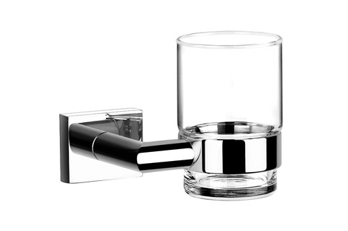 Wall Mounted Gl Tumbler With Chrome Holder 3158