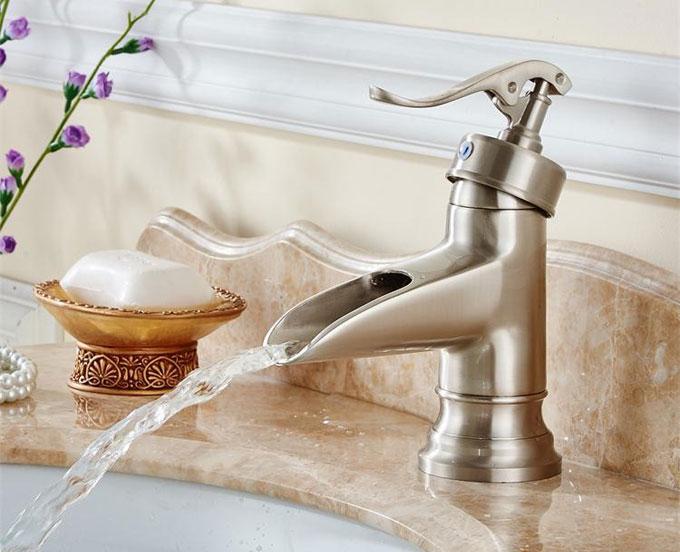 Brushed Nickel Orb Bronze Waterfall Bathroom Faucet Basin