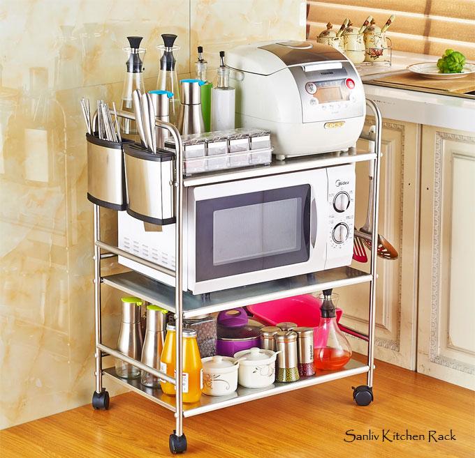 Kitchen Baker Rack Utility Microwave Oven Stand Storage Cart Workstation Shelf
