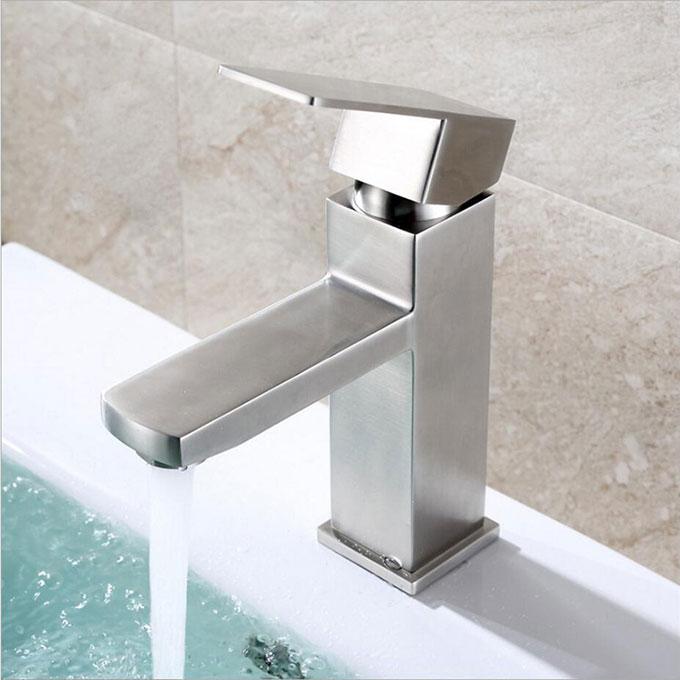 Stainless steel bathroom square vanity sink mixer tap 80108 - Square stainless steel bathroom sink ...