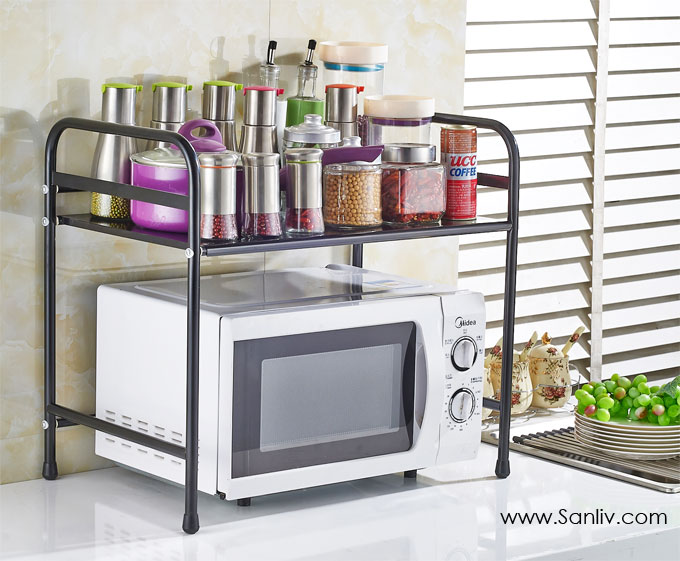 black kitchen storage rack microwave cart-stand shelf | kitchen