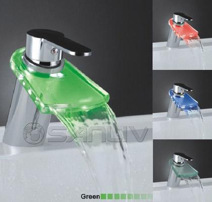 Gl Waterfall Led Bathroom Vanity Vessel Sink Faucet