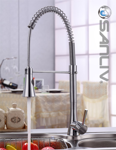 Chrome Pull Down Spray Kitchen Sink Faucet Pullout Spray Kitchen