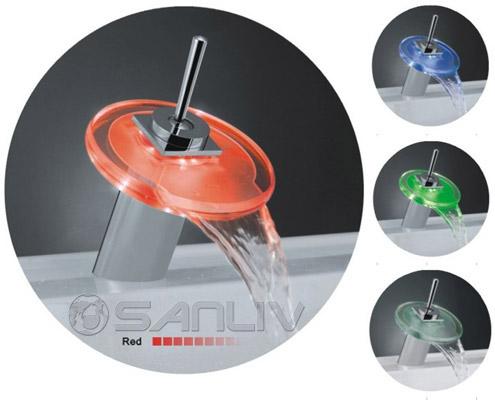 Gl Waterfall Bathroom Vanity Vessel Sink Led Tap Faucet L28601b